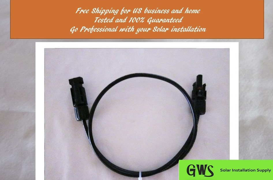 Mc4 Solar Power Cable Pv Wire 10 Feet Free Ship Cell Wiring Panel Sale Extension