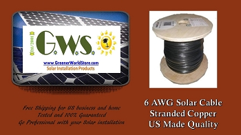 Bulk Solar Cable 25 feet 6AWG Made in USA Highest Quality - GreenerWorldStore