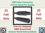 MC3 25 SETS SOLAR PANEL EXTENSION WIRE 25 MC3 CONNECTOR TUV RATED MC3