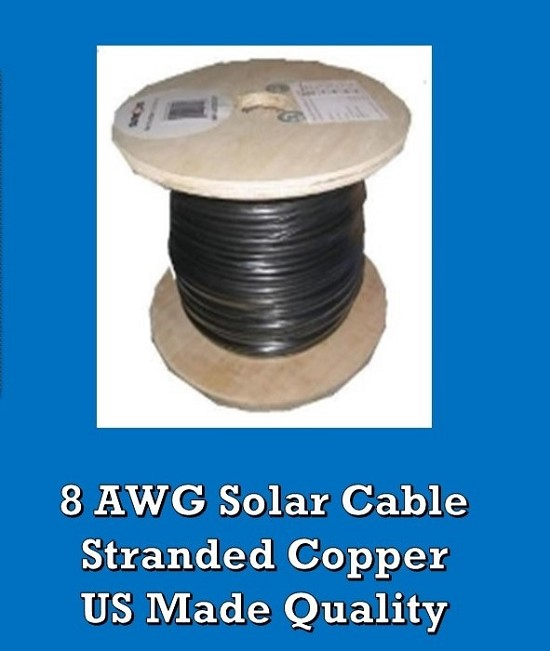 Bulk Solar Cable 25 feet 8AWG Made in USA Solar PV Cable 8awg - Greener World Store