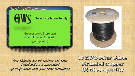 Bulk Solar Cable 25 feet 10AWG Made in USA Solar PV Cable 10awg Greener World Store