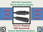 MC3 2000 SETS SOLAR PANEL EXTENSION WIRE MC3 CONNECTOR TUV RATED MC3
