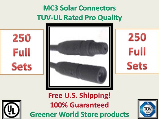 MC3 250 SET SOLAR PANEL EXTENSION WIRE 250 MC3 CONNECTOR TUV RATED MC3