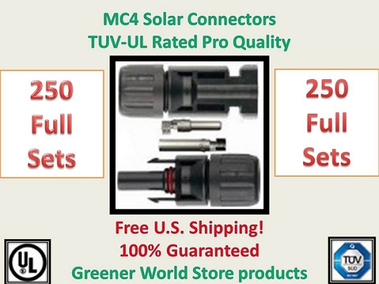250 MC4 SOLAR CONNECTORS BEST PRICE FREE SHIP MC4