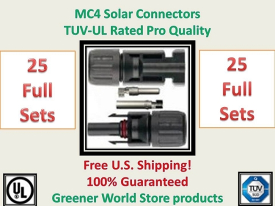 25 MC4 SOLAR CONNECTORS BEST PRICE FREE SHIP MC4