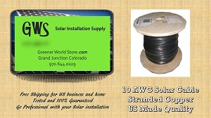25 feet - 10awg Bulk Solar Cable USA Made - GreenerWorldStore - Solar Supply
