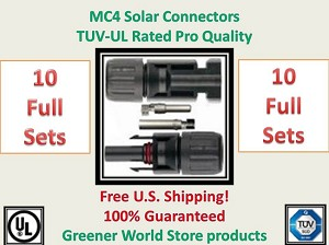 10 MC4 SOLAR CONNECTORS BEST PRICE FREE SHIP MC4